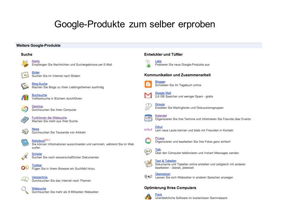 Google-Produkte zum selber erproben