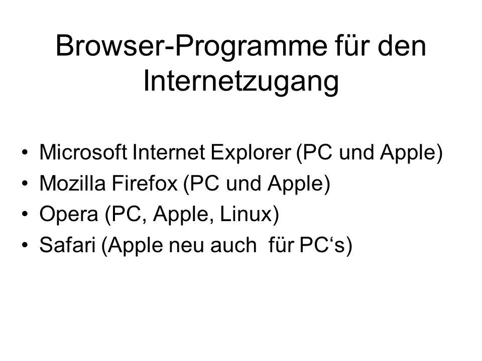 Browser-Programme für den Internetzugang