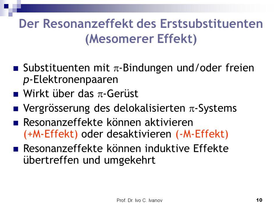 Der Resonanzeffekt des Erstsubstituenten (Mesomerer Effekt)
