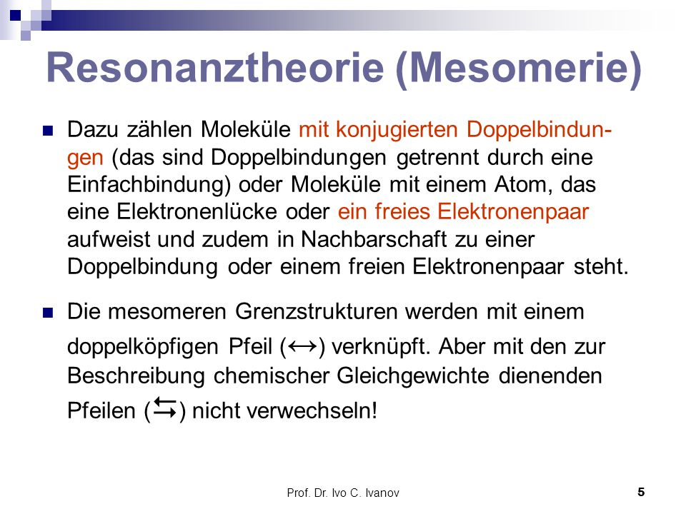 Resonanztheorie (Mesomerie)