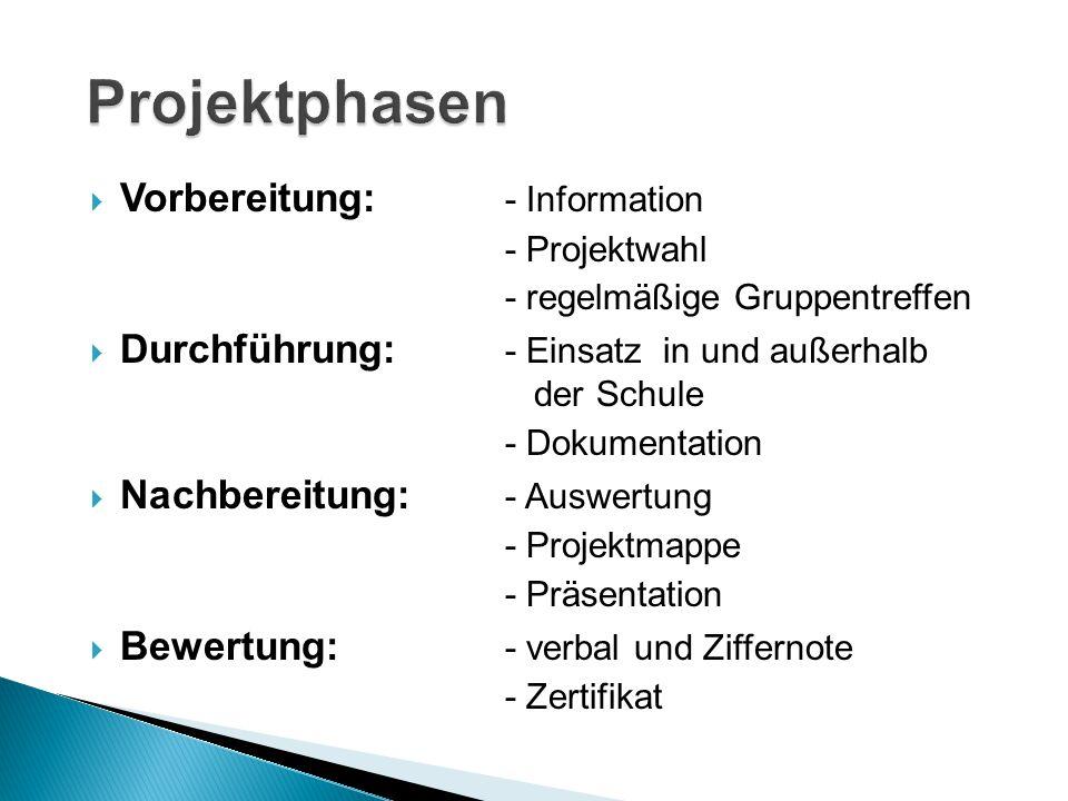 Projektphasen Vorbereitung: - Information