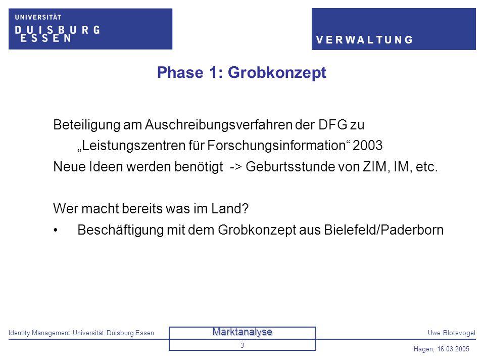 """Phase 1: Grobkonzept Beteiligung am Auschreibungsverfahren der DFG zu """"Leistungszentren für Forschungsinformation 2003."""