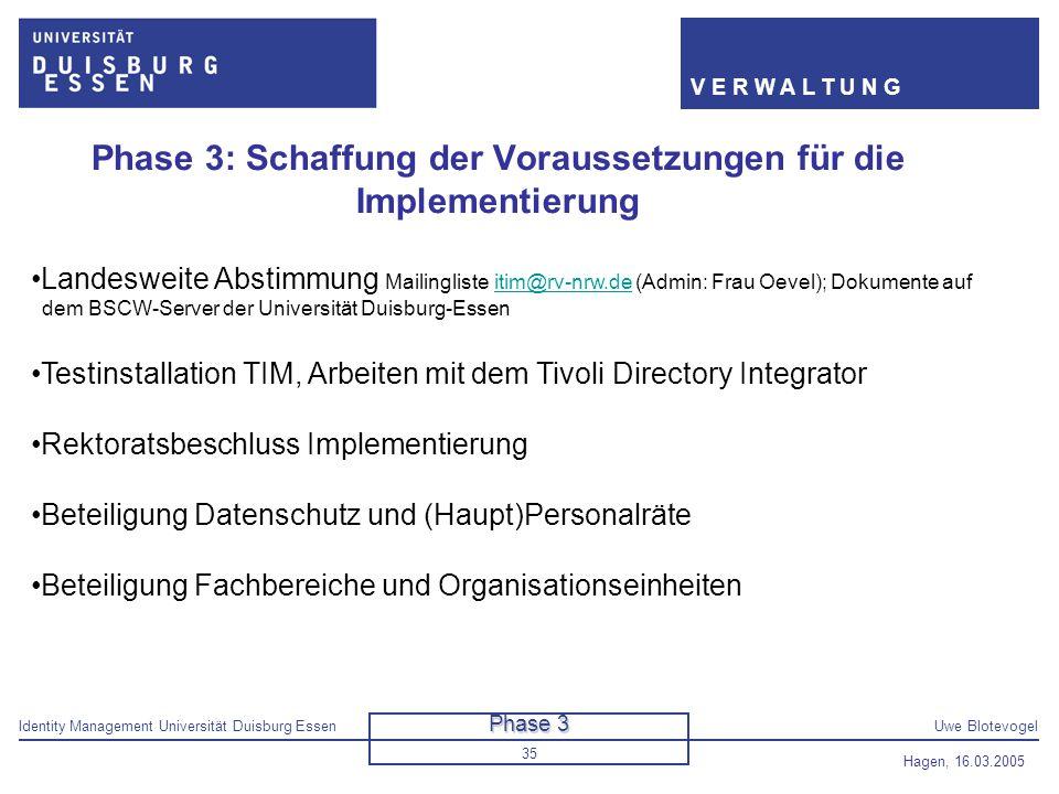 Phase 3: Schaffung der Voraussetzungen für die Implementierung