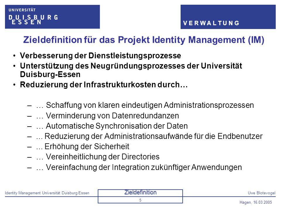 Zieldefinition für das Projekt Identity Management (IM)