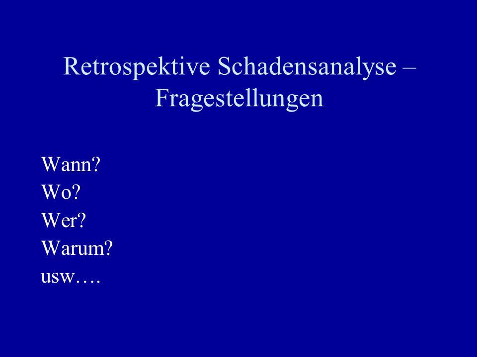 Retrospektive Schadensanalyse – Fragestellungen