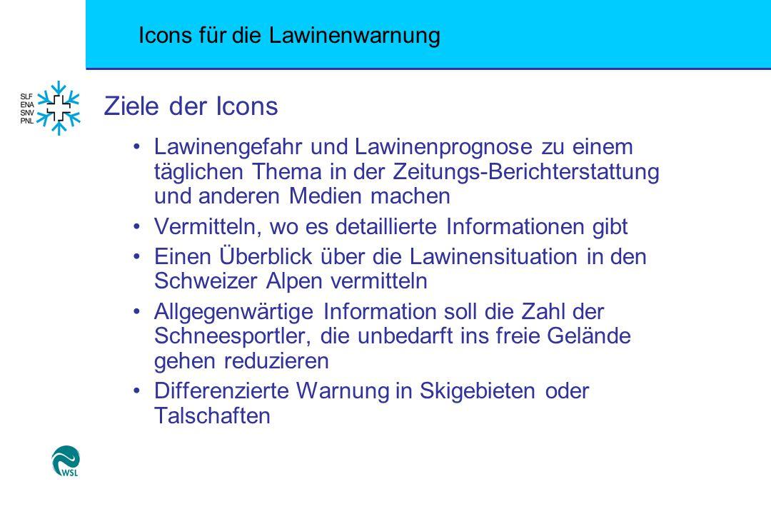 Ziele der Icons Lawinengefahr und Lawinenprognose zu einem täglichen Thema in der Zeitungs-Berichterstattung und anderen Medien machen.