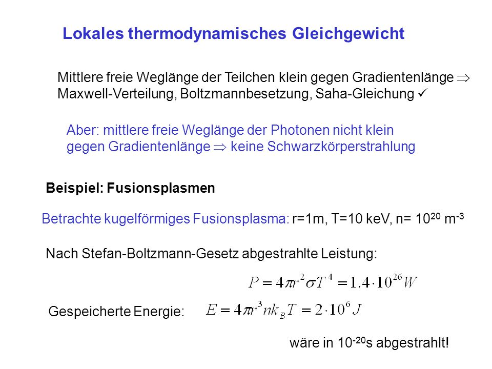 Lokales thermodynamisches Gleichgewicht