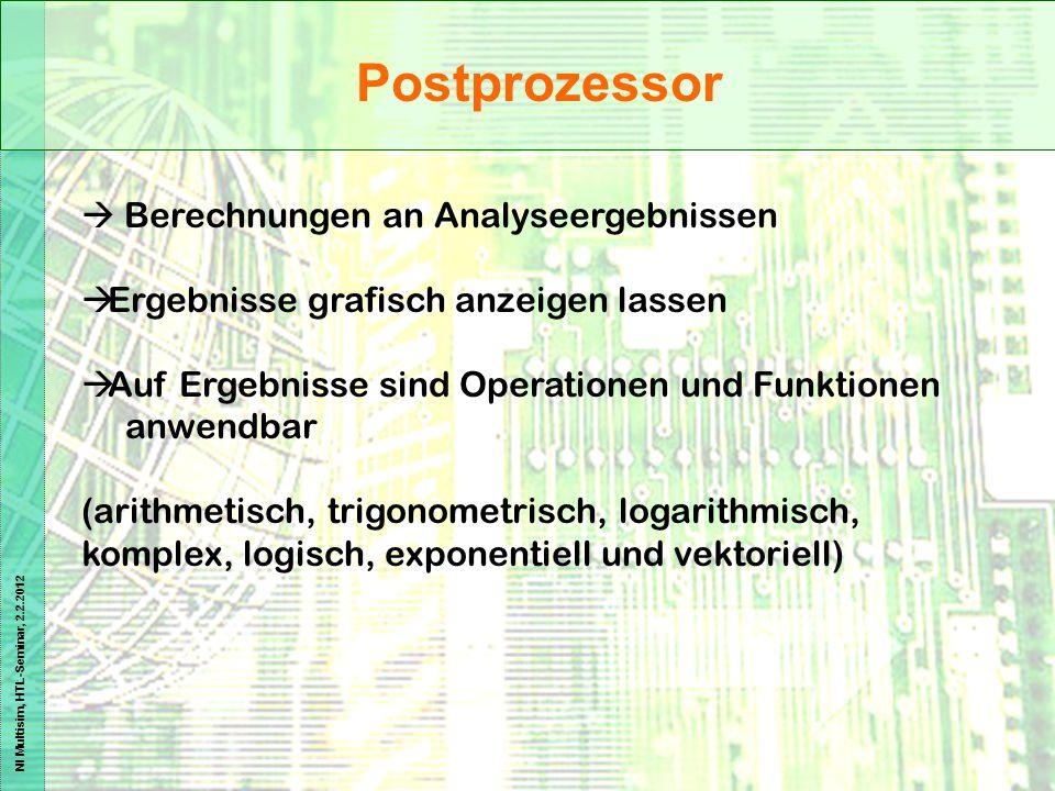 Postprozessor  Berechnungen an Analyseergebnissen
