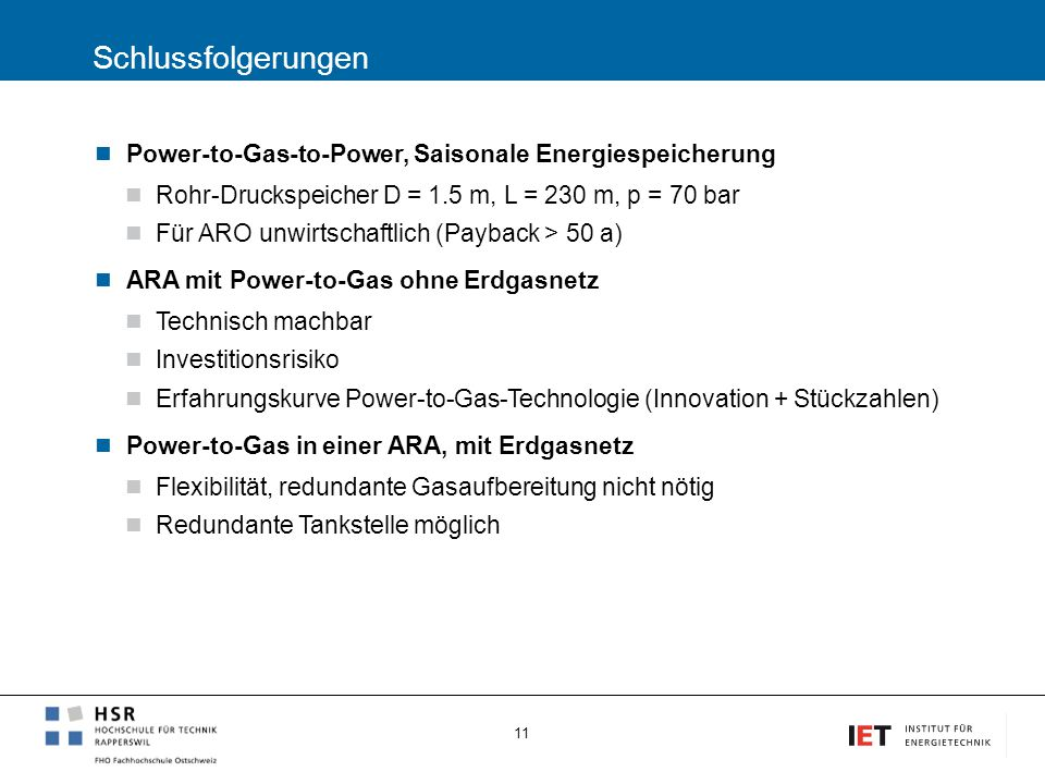 Schlussfolgerungen Power-to-Gas-to-Power, Saisonale Energiespeicherung