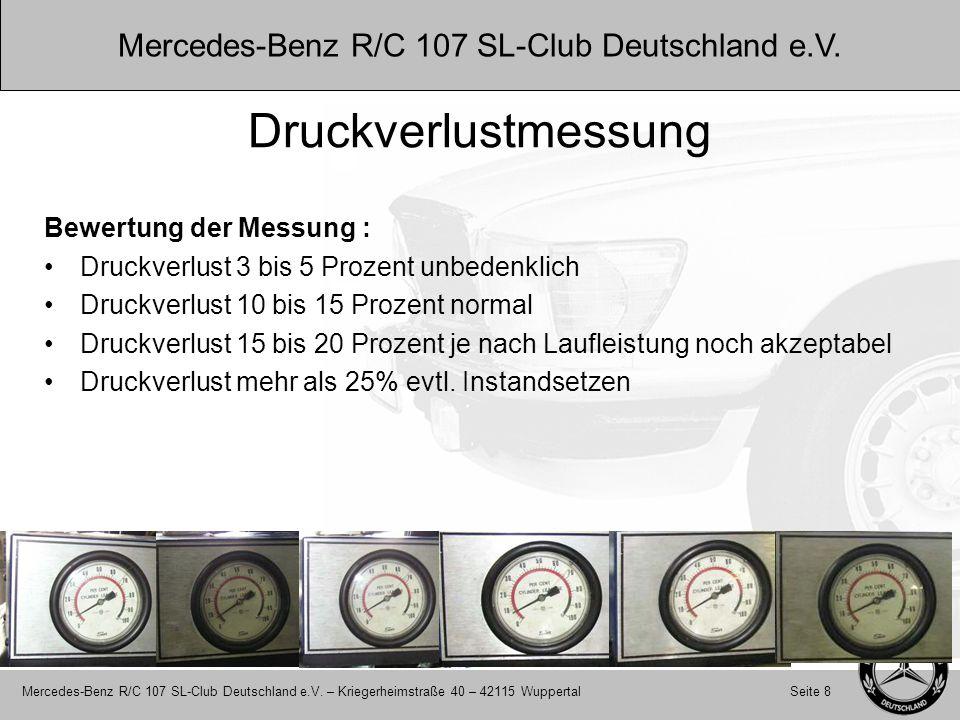 Druckverlustmessung Bewertung der Messung :