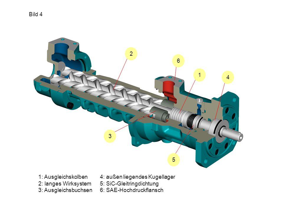 Bild 4 2. 6. 1. 4. 3. 5. 1: Ausgleichskolben. 2: langes Wirksystem. 3: Ausgleichsbuchsen. 4: außen liegendes Kugellager.