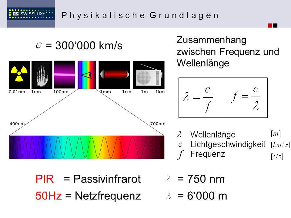 = 300'000 km/s PIR = Passivinfrarot = 750 nm 50Hz = Netzfrequenz