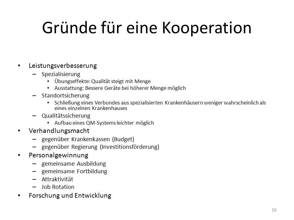 Gründe für eine Kooperation