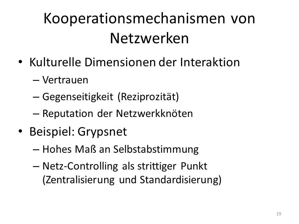 Kooperationsmechanismen von Netzwerken
