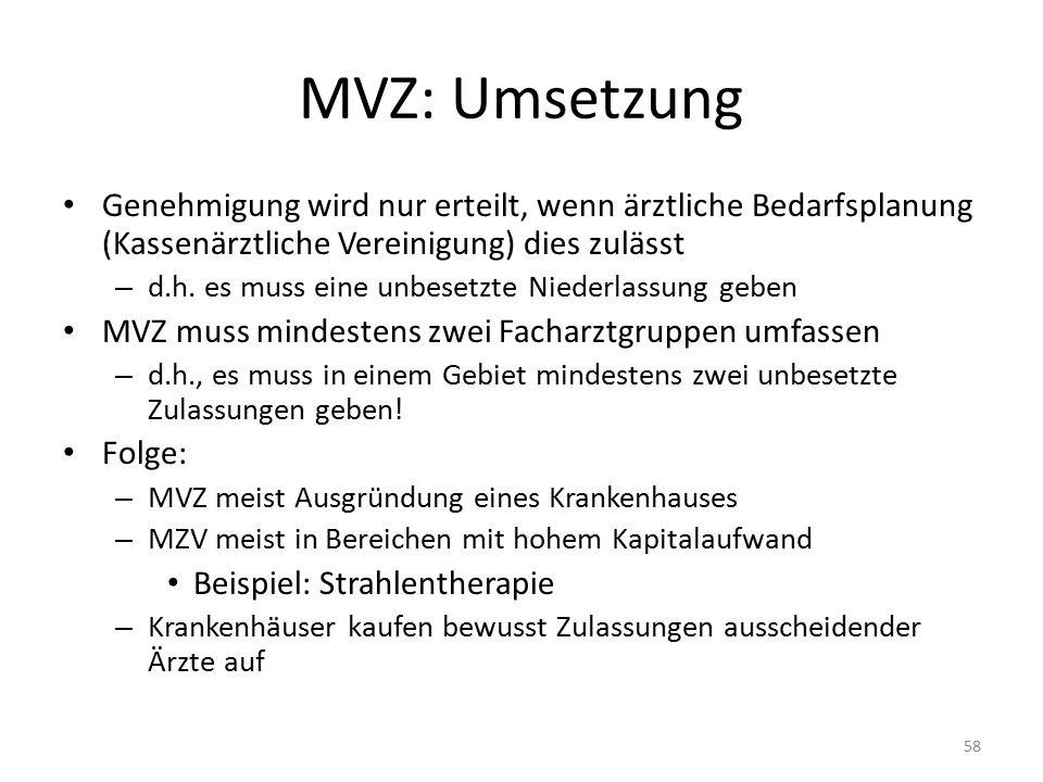 MVZ: Umsetzung Genehmigung wird nur erteilt, wenn ärztliche Bedarfsplanung (Kassenärztliche Vereinigung) dies zulässt.