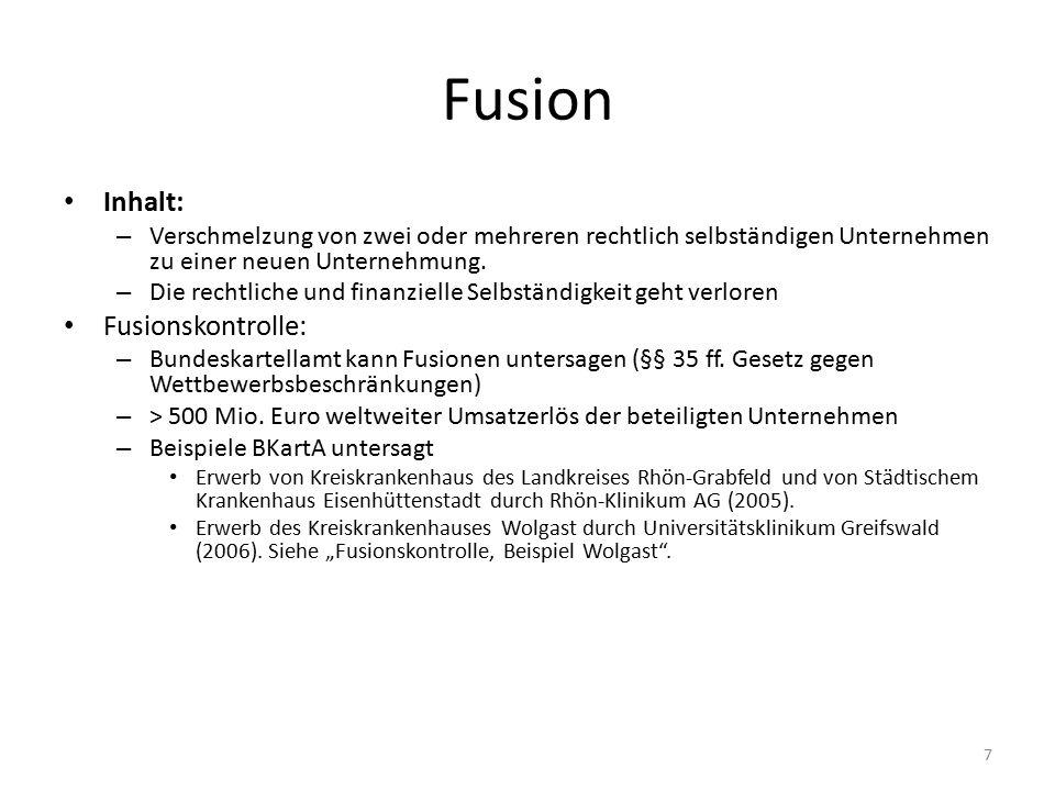 Fusion Inhalt: Fusionskontrolle: