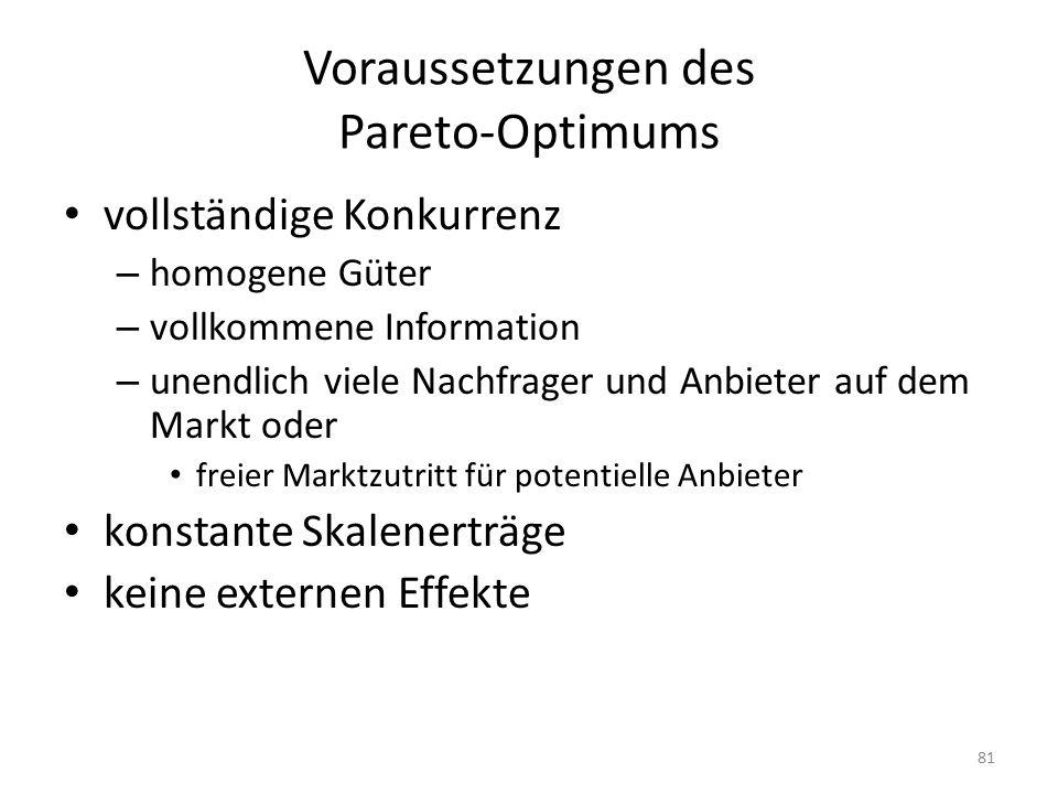 Voraussetzungen des Pareto-Optimums