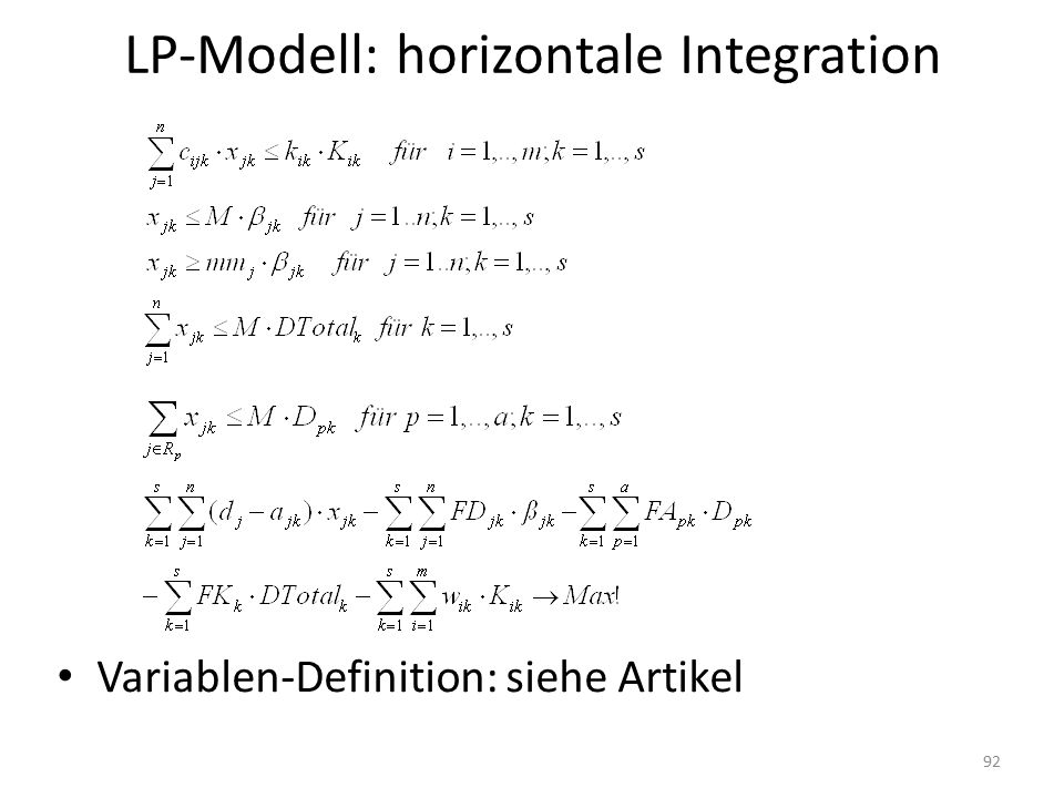 LP-Modell: horizontale Integration