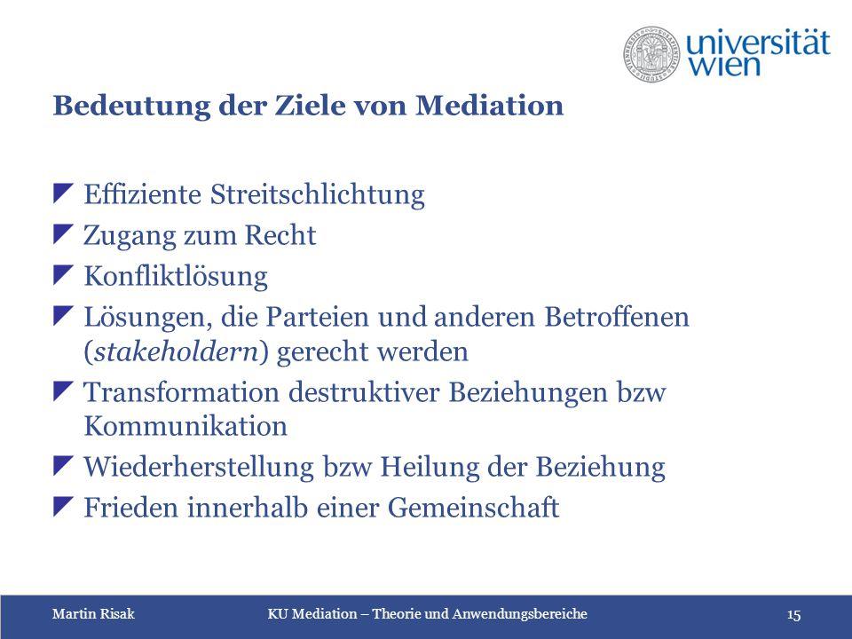 Bedeutung der Ziele von Mediation