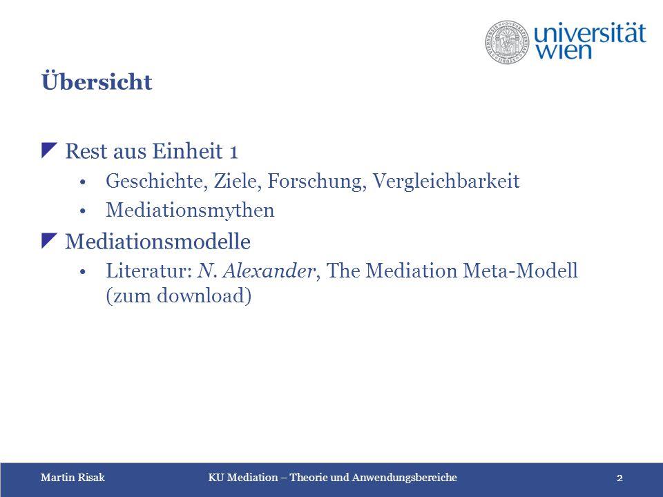 Übersicht Rest aus Einheit 1 Mediationsmodelle