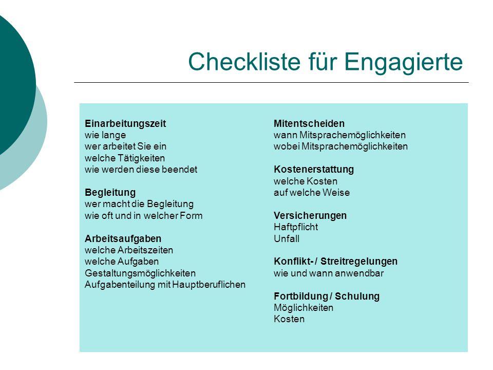 Checkliste für Engagierte