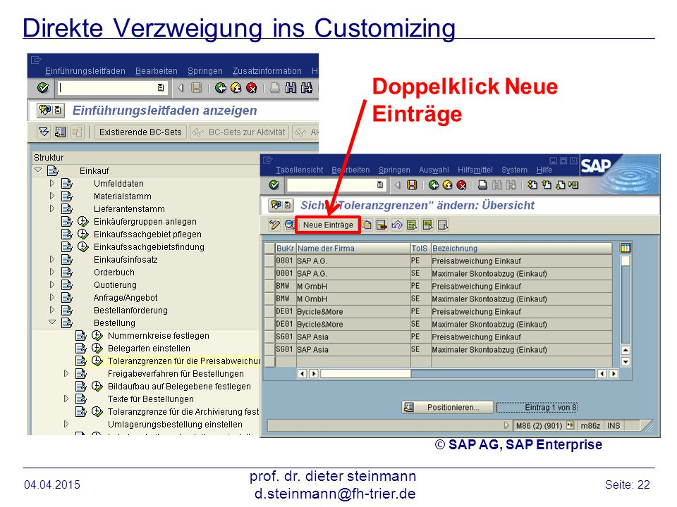 Direkte Verzweigung ins Customizing