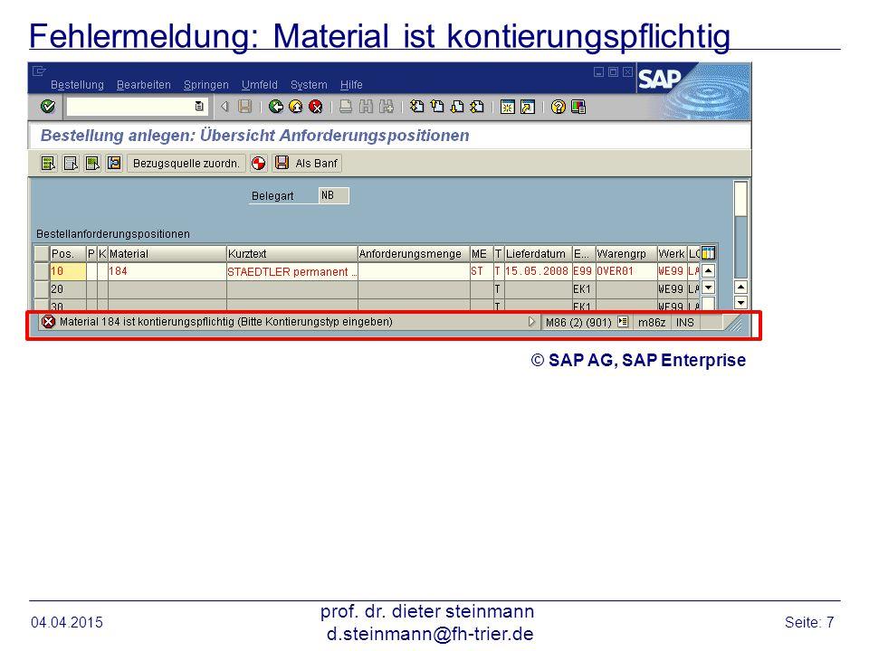 Fehlermeldung: Material ist kontierungspflichtig