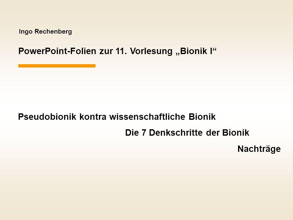 """PowerPoint-Folien zur 11. Vorlesung """"Bionik I"""
