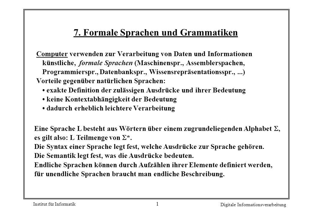 7. Formale Sprachen und Grammatiken