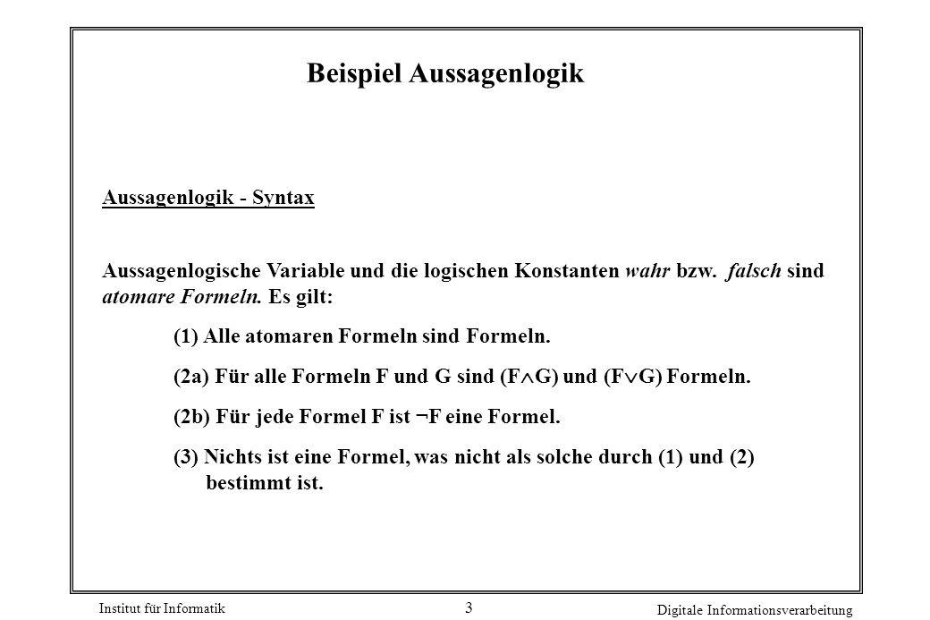 Beispiel Aussagenlogik