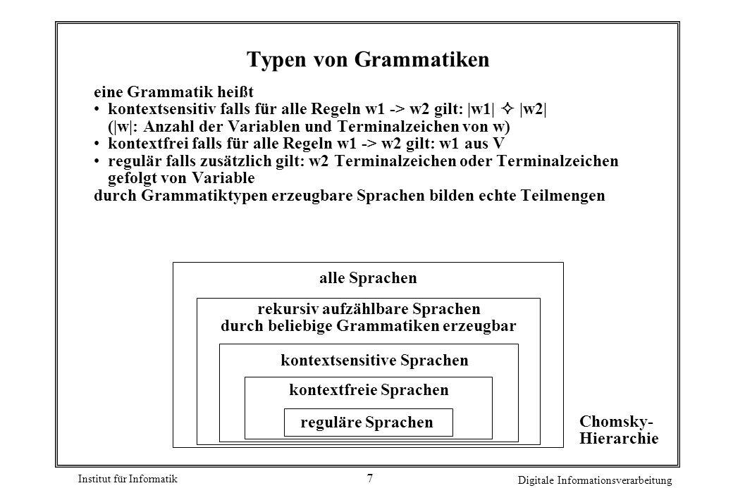 rekursiv aufzählbare Sprachen durch beliebige Grammatiken erzeugbar