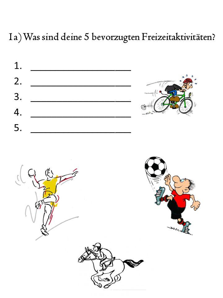 1a) Was sind deine 5 bevorzugten Freizeitaktivitäten