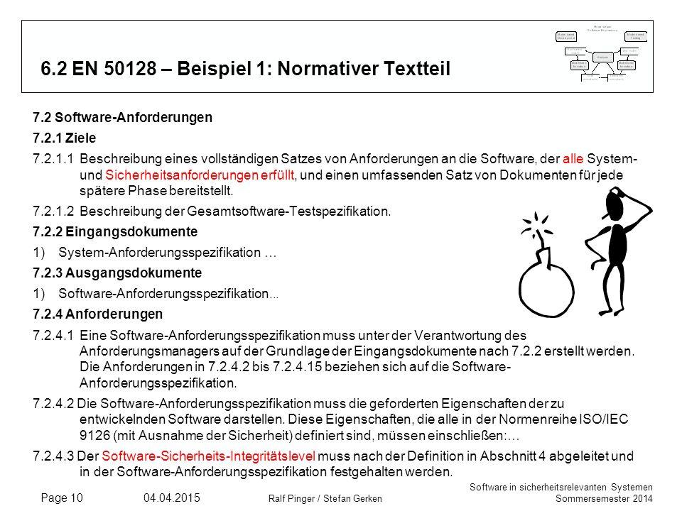 6.2 EN 50128 – Beispiel 1: Normativer Textteil