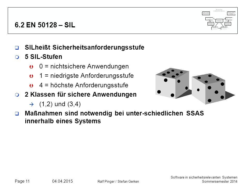 6.2 EN 50128 – SIL SILheißt Sicherheitsanforderungsstufe 5 SIL-Stufen