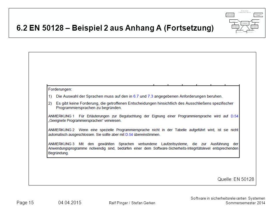 6.2 EN 50128 – Beispiel 2 aus Anhang A (Fortsetzung)