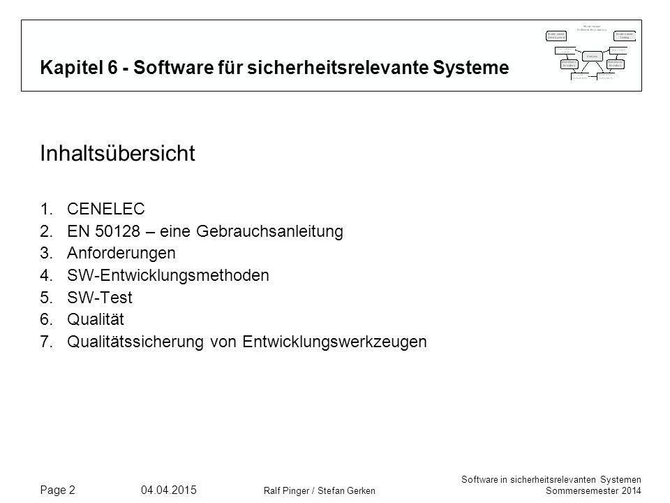 Kapitel 6 - Software für sicherheitsrelevante Systeme