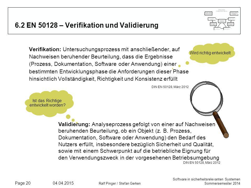 6.2 EN 50128 – Verifikation und Validierung