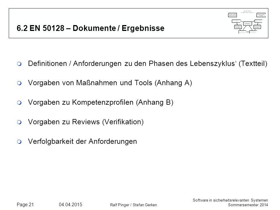 6.2 EN 50128 – Dokumente / Ergebnisse