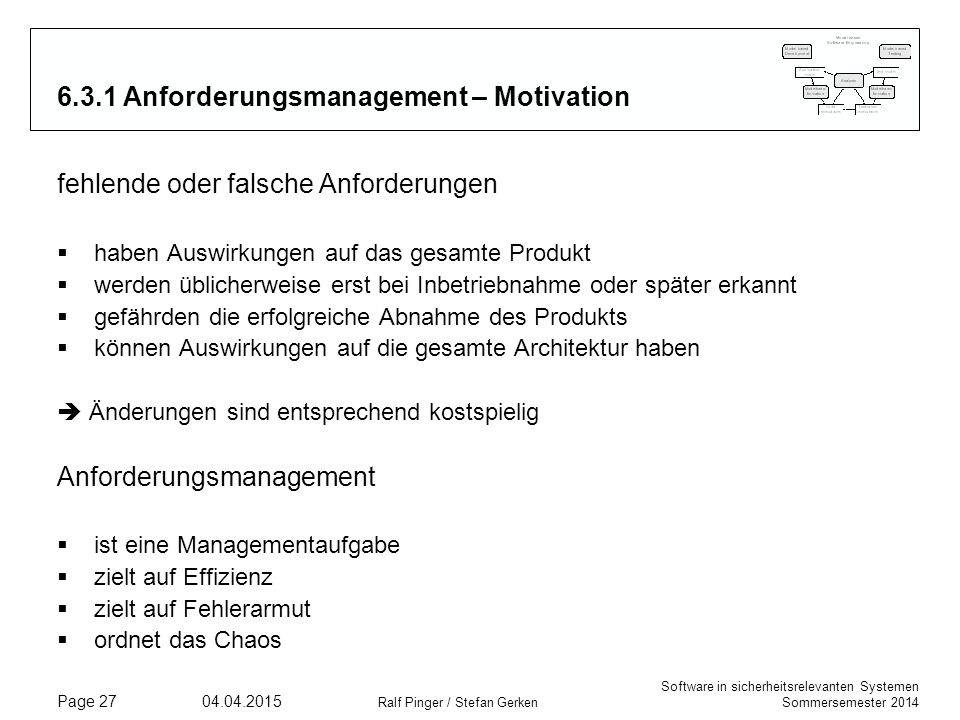 6.3.1 Anforderungsmanagement – Motivation