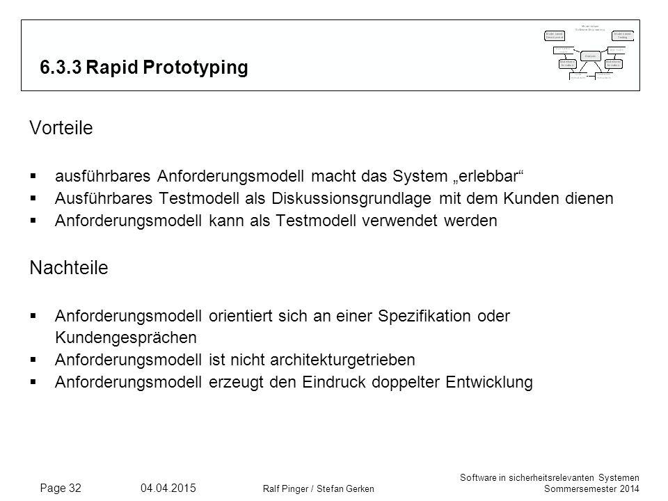 6.3.3 Rapid Prototyping Vorteile Nachteile