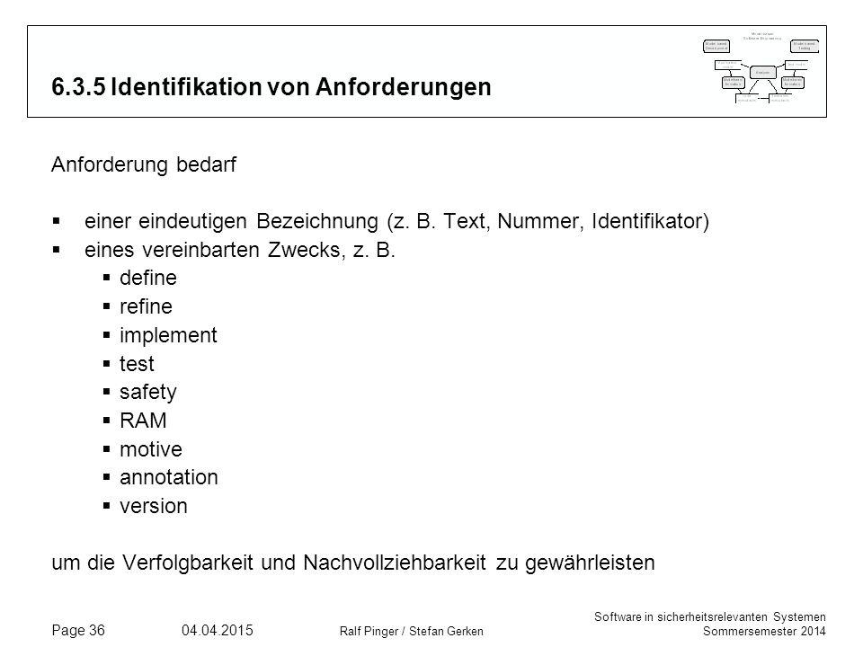 6.3.5 Identifikation von Anforderungen