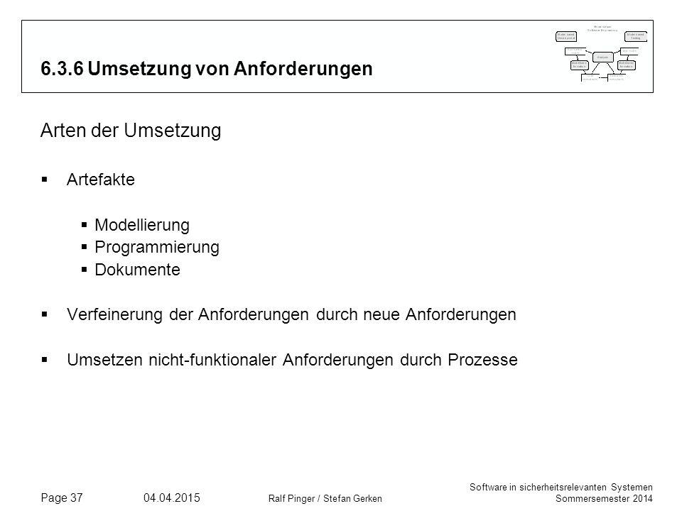 6.3.6 Umsetzung von Anforderungen