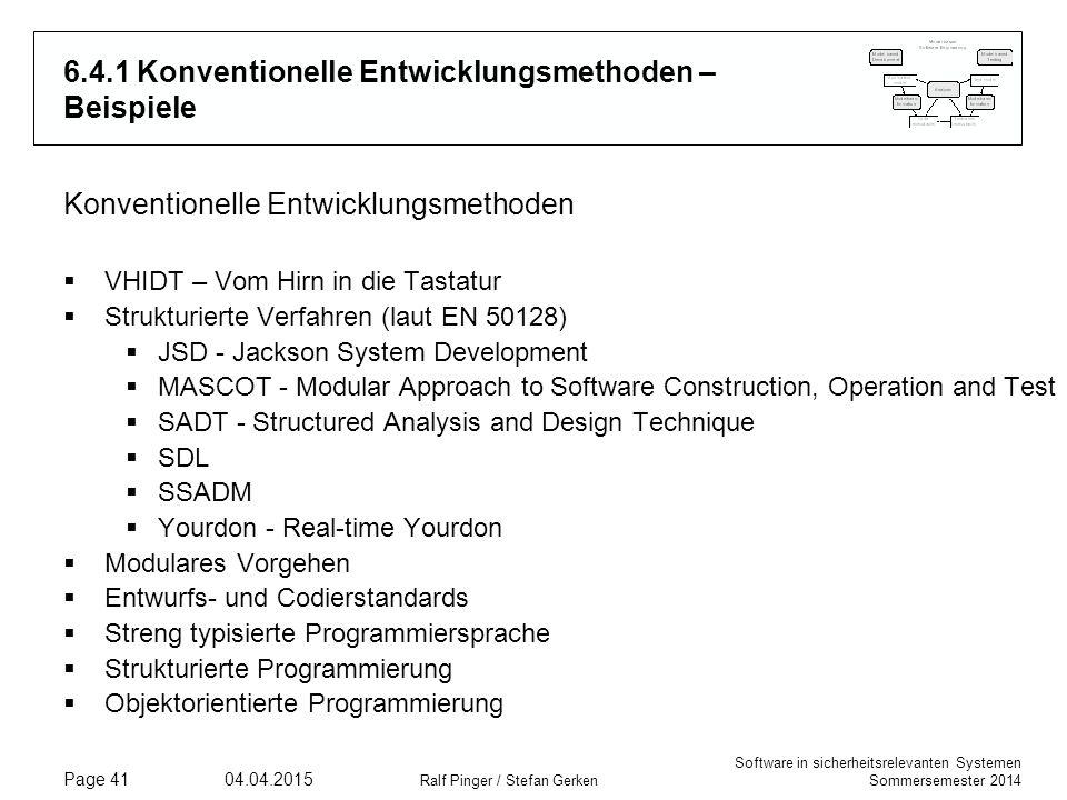 6.4.1 Konventionelle Entwicklungsmethoden – Beispiele