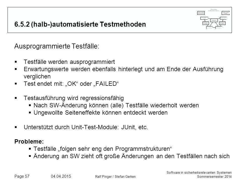 6.5.2 (halb-)automatisierte Testmethoden