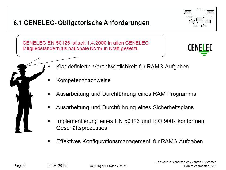 6.1 CENELEC- Obligatorische Anforderungen