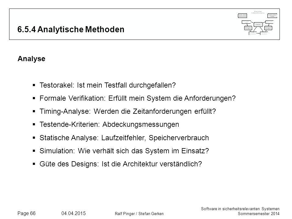 6.5.4 Analytische Methoden Analyse