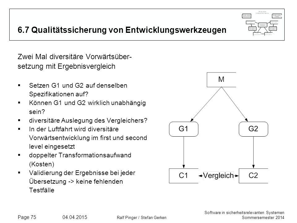 6.7 Qualitätssicherung von Entwicklungswerkzeugen