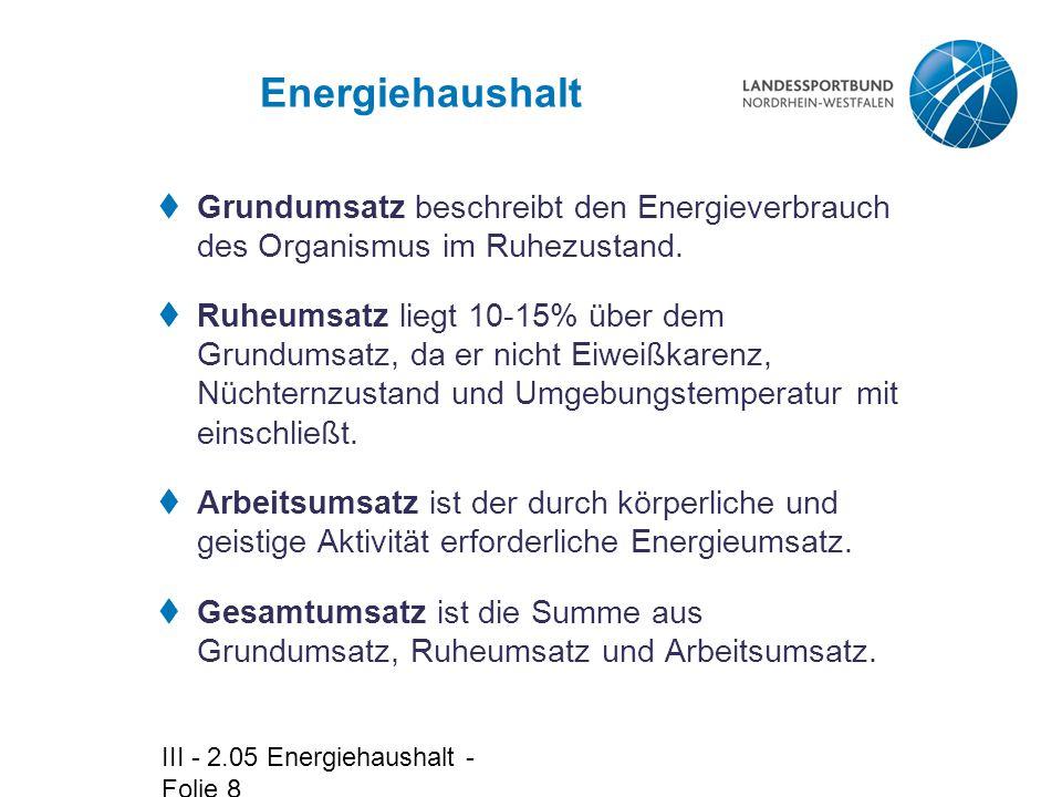 Energiehaushalt Grundumsatz beschreibt den Energieverbrauch des Organismus im Ruhezustand.