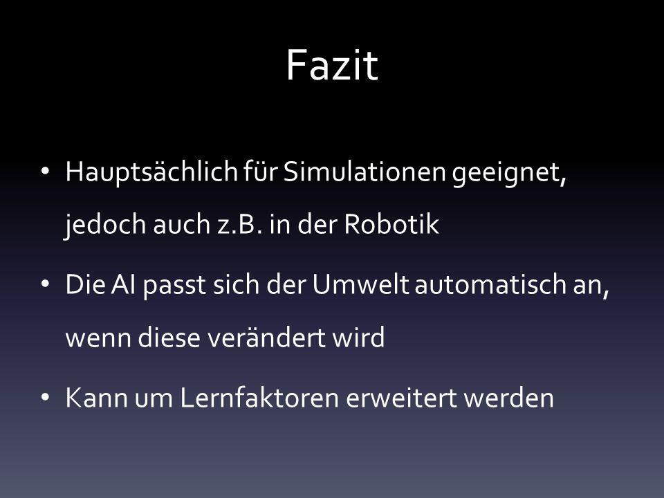 Fazit Hauptsächlich für Simulationen geeignet, jedoch auch z.B. in der Robotik.