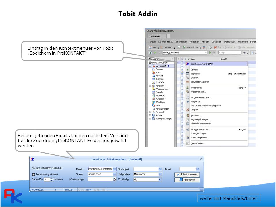 Tobit Addin Eintrag in den Kontextmenues von Tobit